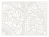 Set contour illustrations of the stained glass Windows on the theme of the carnival with abstract masks