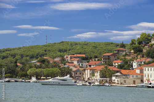 Sights of Croatia. Island Hvar with ancient monuments and beautiful landscapes. Croatian paradise.