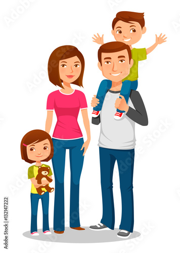 cute cartoon family with two kids - 132147222