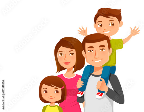 cute young family with two kids - 132147896