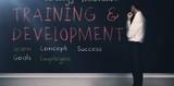 Training and development terms written on a blackboard 3d