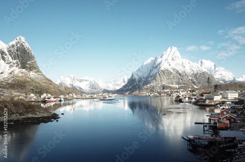 Poster spring in Reine Village, Lofoten Islands, Norway