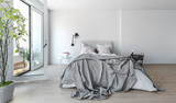 Fototapety Modern bedroom interior with rumpled bedclothes