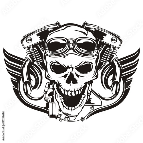 In de dag Retro Skull motorcycle machine wings
