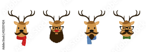 Aluminium Hipster Hert Set of four reindeer dressed like hipsters