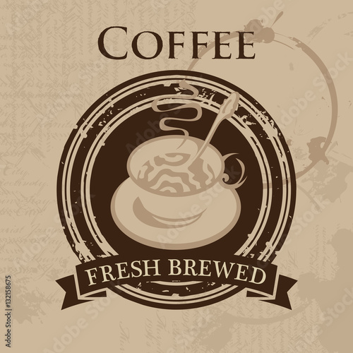 Fototapeta vector banner with a cup of coffee in retro style
