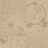 Coffee background with texture of stains from cups, text and graphics