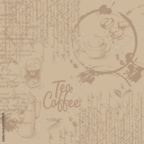 Tapeta Coffee background with texture of stains from cups, text and graphics