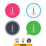 Scissors hairdresser closed icon. Tailor symbol.