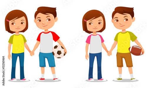 cute illustration of brother and sister holding hands