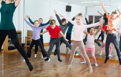 Ordinary boys and girls studying contemp dance