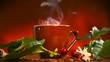 Coffee. Brown Cup of hot beverage with Steam. Espresso Coffee closeup and real coffee beans, flowers and leaves. HD video Footage