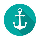 Anchor icon with long shadow. Flat design style. Round icon. Anchor silhouette. Simple circle icon. Modern flat icon in stylish colors. Web site page and mobile app design vector element.