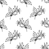 Vector floral illustration, seamless pattern with butterfly with flowers, leaves, decorative elements on the white background Hand drawn contour lines and strokes Doodle style, graphic illustration