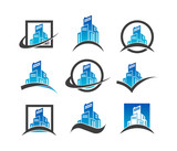 Set of real estate and construction building icons