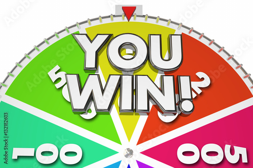Poster You Win Spinning Game Show Wheel 3d Illustration