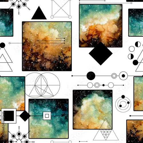 Seamless Pattern of Sacred Geometry and Nebula in Squares