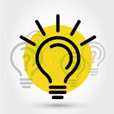yellow idea illustration with bulbs