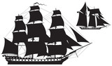 Sailing Ship silhouettes, frigate and Schooner vector illustration