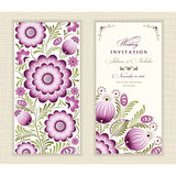 Wedding invitation card in ethnic style. The front and rear side. Ornament with leaves and flowers.