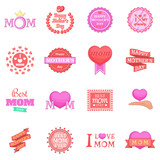 Mother Day icons set. Cartoon illustration of 16 Mother Day vector icons for web