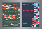 Set A4 Business brochure flyer design layout template with triangle pattern. Leaflet cover presentation, Modern Backgrounds. Vector illustration.