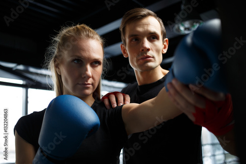 Staande foto Young athletes training in boxing