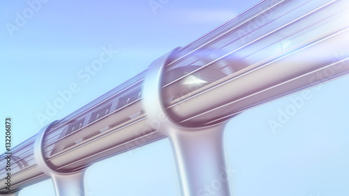 monorail futuristic train in tunnel. 3d illustration - 132206873
