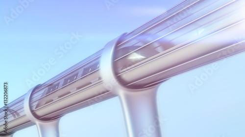 monorail futuristic train in tunnel. 3d illustration - 132206873