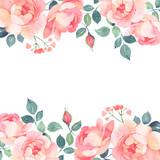 Romantic roses watercolor background decoration