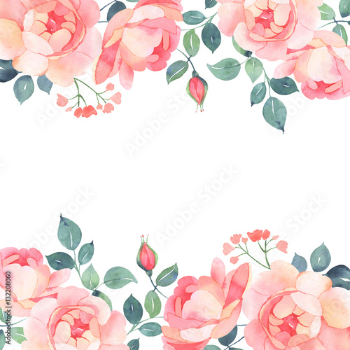 Romantic roses watercolor background decoration
