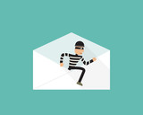 Thief walk out from phishing mail, vector
