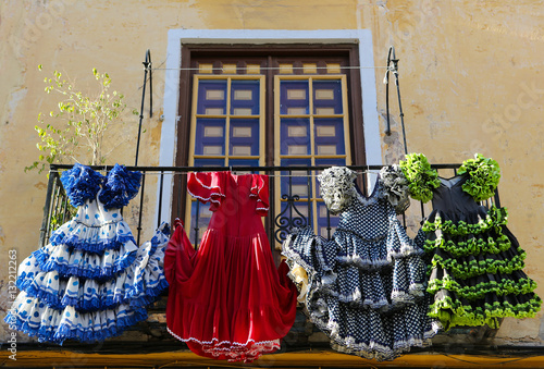 Papiers peints Madrid Traditional flamenco dresses at a house in Malaga, Spain