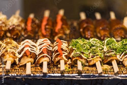Fotobehang Tokio Japanese street food in Tokyo