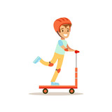 Boy In Helmet Riding Scooter, Traditional Male Kid Role Expected Classic Behavior Illustration