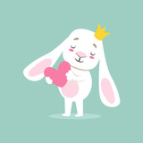 Little Girly Cute White Pet Bunny In Princess Crown Holding A Pink Heart, Cartoon Character Life Situation Illustration
