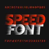Speed alphabet font. Wind effect type letters and numbers on a dark background. Vector typeface for your design. - 132218091