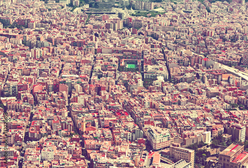 Poster   Sants-Montjuic residential district from helicopter. Barcelona