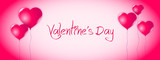 Valentines day banner with heart balloons