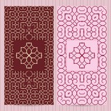 Set of cards 4x8 inch size. Collection of business templates, abstract geometric patterns in islamic, eastern, ornate style with logo element.