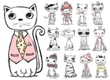 Set of stylish cats. Vector trendy hipster style for greeting card design, t-shirt print, inspiration poster.