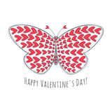 Valentines day card with hand drawn butterfly