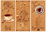 Fototapety Set of Template Flayer or Menu design for coffeehouse. Backgroun
