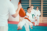 Tae kwon do training. Group of children on Tae kwon do training
