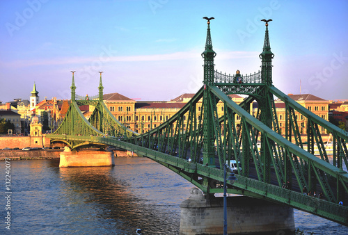 Poster Liberty bridge in Budapest city