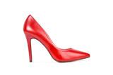 Zapato de taco alto rojo de mujer