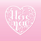 Openwork heart with with inscription I love you. Vector decorati