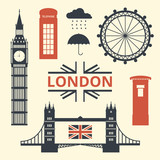 Vector Illustration of London Symbols. Flat Design Style.