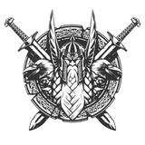 God Odin illustration tattoo style