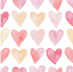 Happy Valentines Day watercolor hearts background vector illustration. Seamless pattern. © Lenka Misincova